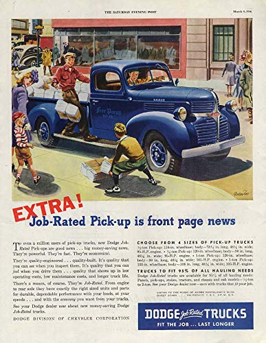 EXTRA! Job-Rated Dodge newspaper delivery Pickup Truck ad 1946 SEP