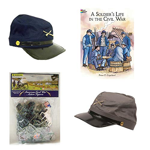Civil War Soldier Play Set with Blue and Gray Civil War Kids Hats, Plastic Civil War Army Men, Civil War Soldier Coloring Book and Civil War Fact Sheet Pretend Play History Set ()