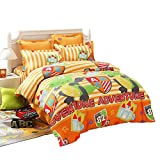 LOVO Kids Dinosaur Fighter Cotton 300TC 4-Piece Bedding Set Duvet Cover Fitted Sheet 2x Shams Twin
