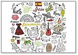 Spain Symbols And Icons, Illustration - Classic Fridge Magnet