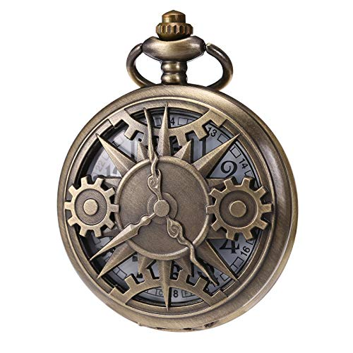 MORFONG Mens Womens Pocket Watch Quartz Movement Fob Watches Vintage Steampunk, Blue Bronze Case (Bronze2)