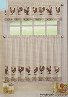 Ellery Homestyles Rooster U0026 Postcard Theme Cafe Curtain Set (Tier ...