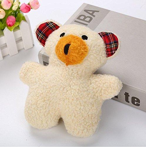 Stock Show 1Pc Pet Squeak Toy Plush Ivory-White Cartoon Bear