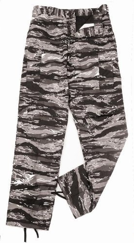 Camouflage Military BDU Pants, Army Cargo Fatigues (Urban Tiger Stripe Camouflage, Size Large)