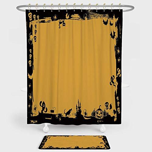 iPrint Halloween Shower Curtain And Floor Mat Combination Set Black Framework Borders with Halloween Icons Cats Bats Skulls Ghosts Spiders Decorative For decoration and daily use Yellow Black -