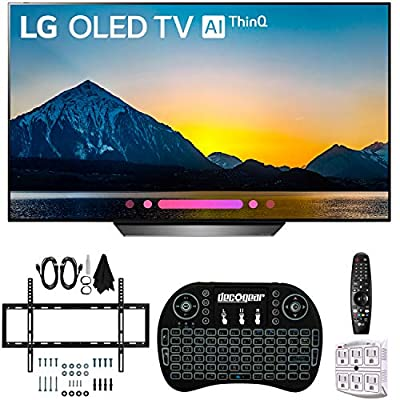 "LG B8PUA 55"" B8 OLED 4K HDR AI Smart TV with 2.4GHz Wireless Backlit Keyboard, Wall Mount Kit Ultimate Bundle and 750 Joule Surge Protector"