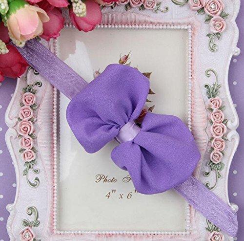 del chiffon di bowknot fiore Akaayuko di porpora per elastica del della fotografia neonata la 1Pc Fascia aq5WFX6