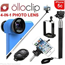 olloclip 3-IN-1 iPhone 5c Photo Lens, Black Lens on Blue Clip - Retail Packaging (OCEU-5C-FWM-BKBL) & Noot Extendable Selfie Stick + Bluetooth Wireless Remote Bundle