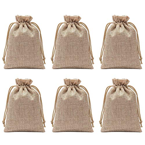 Axe Sickle Polyester Fibre Jute Gift Bag 5.9 x 7.9 Inch Drawstring and Lining, DIY Craft Jewelry Pouch, Storage Linen Burlap Jewelry Pouches Sacks Apply to Birthday Parties and Wedding 25pcs.