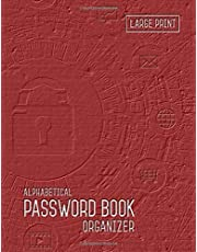 Password Book Organizer Alphabetical: 8.5 x 11 Password Notebook with Tabs Printed | Smart Red Design