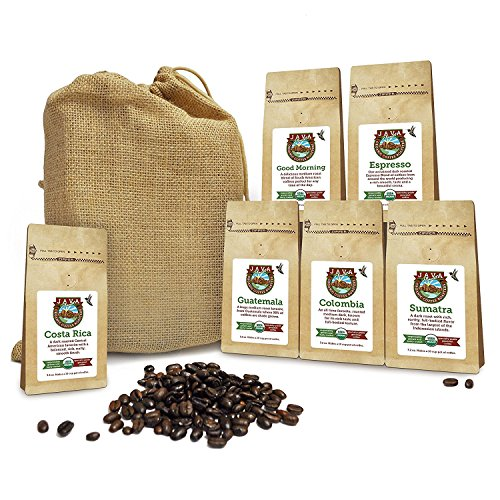 Java Planet - Coffee Beans, Methodical Coffee Sampler Pack in Burlap Bag, Whole Bean Variety Pack, Arabica Gourmet Specialty Coffee, 1.32 lbs of coffee packaged in six 3.2 oz bags