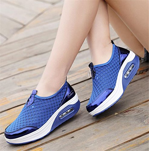 Walking Wedges Sole Toning Sneakers Shoes Thick for Platform Tennis Womens Blue Rocker wYq8Cx4v