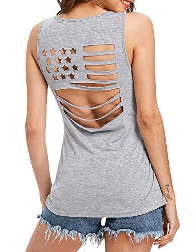 Organic Cross Back Tank - Harewom Women Backless Workout Tank Quick Dry for Jogging Sleeveless Shirts (Gray,L)