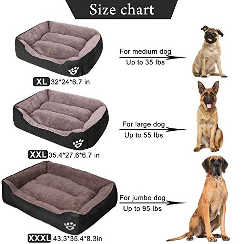 PUPPBUDD Dog Bed for Large Dogs Washable Comfortable Safety Pet Sofa Extra Firm Cotton Breathable for Medium and Small Dog Cat 8060cm Size XL L