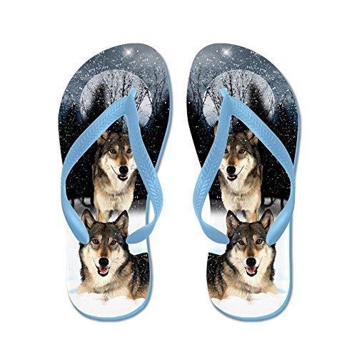 Cafepress American Indian Style Wolf - Flip Flops, Grappige String Sandalen, Strand Sandalen Caribbean Blue