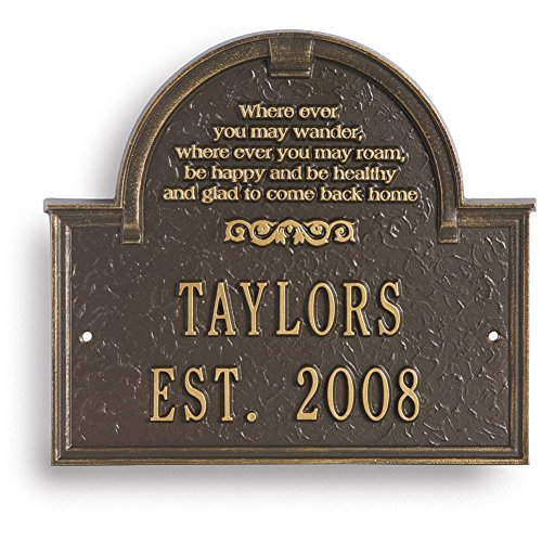 Plaque Personalized House (Personalized Wherever You May Wander Custom Family Indoor/Outdoor Aluminum House Plaque)