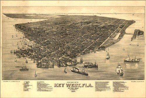 Poster Birdseye View Map Of Key West, Florida 1884 Antique Reprint
