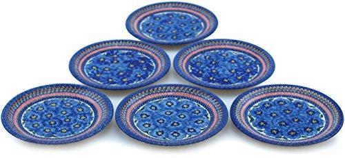 Polish Pottery Set of 6 Plates 11-inch Regal Bouquet UNIKAT