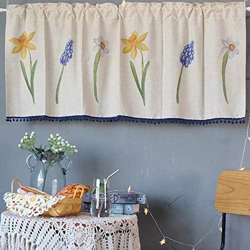 Cafe Curtains カフェ カーテン、小 窓 カーテン、カフェカーテンコットンリネンキッチンカーテンWindowsアメリカンルーラルスタイルブラックアウトカーテンベッドルームブルーファーボールタッセル付き(135×58cm)