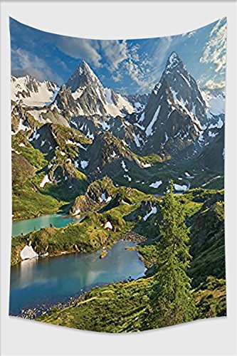 Nalahome-Cottage Decor Collection Siberia Altai Mountains Katun Ridge High Snowy Peaks with Skirts Grass Covered View Green Blue Ivory Tapestry Wall Hanging Wall Tapestri 80L x 59W - Shop Ridge Desert