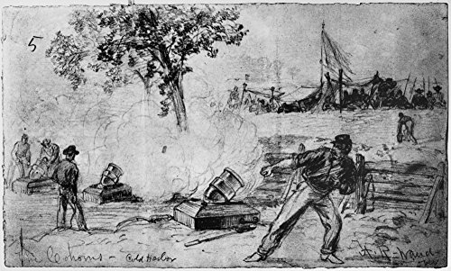 Civil War Mortars 1864 Ncoehorn Mortars Being Fired By The Union Army During The Battle Of Cold Harbor Virginia June 1864 Pencil Drawing By Alfred R Waud Poster Print by (24 x 36)
