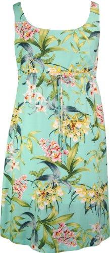 RJC Womens Orchidaceae Empire Tie Front Short Tank Dress Aqua 1X Plus