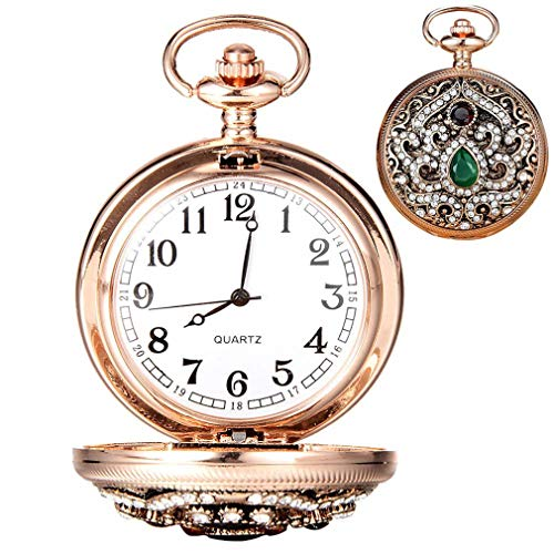 Gold Vintage Women Diamond Carved Pocket Watch Without Chain Jewelry Watch For Women Gift XR2401 LL@17 Style 2 from Wactsa