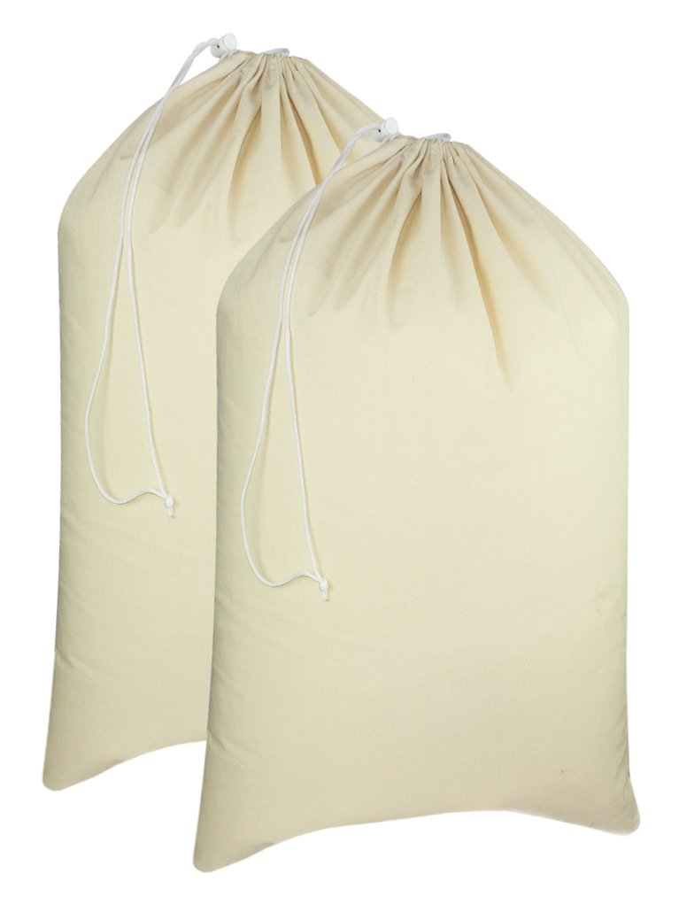 "Cotton Craft - 2 Pack Extra Large 100% Cotton Canvas Heavy Duty Laundry Bags - Natural Cotton - 28""x36"" - Versatile - Multi Use"