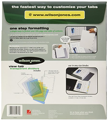 Wilson jones view tab index dividers 8 tab extra wide for Templates wilson jones 8 tabs