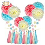 Tissue Paper Flowers Pom Poms Party Decorations Blue Yellow Pink Tassel garland for Baby Girl Unicorn Birthday Party Supplies Bridal Shower Decorative Decor 100% Premium Paper