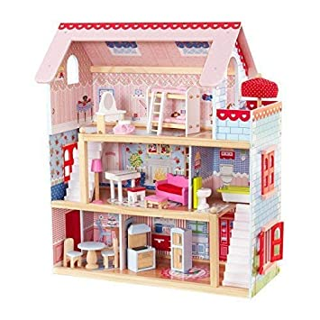 Kidkraft 65054 Chelsea Doll Cottage Wooden Dolls House With Furniture And Accessories Included 3 Storey Play Set