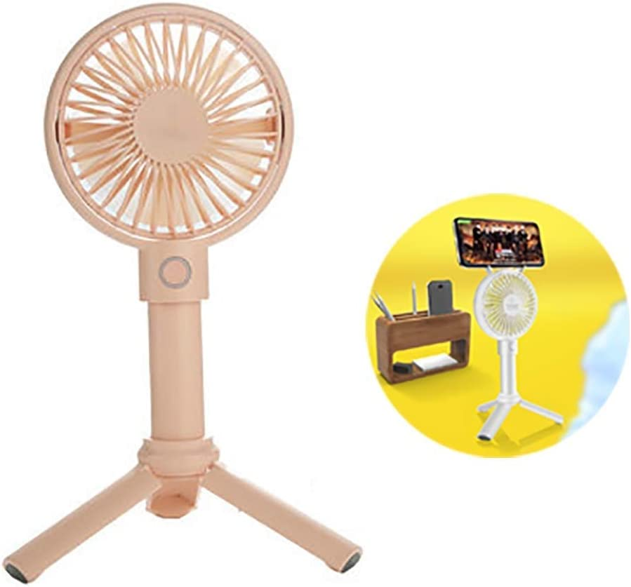 Color : Pink Jolly Mini Handheld Fan Portable Mute Rechargeable USB Portable 3 Speed Adjustable Small Desktop Cooling Fan Can Be Used As a Mobile Phone Holder
