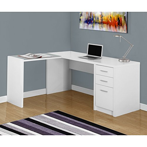 Monarch Specialties I 7136 White Corner with Tempered Glass Computer Desk (White Computer Cabinet)