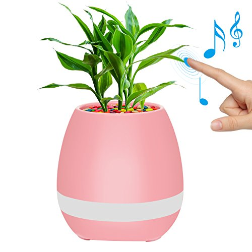 Flower Pots,Pink Flower Pot MOVTEVE Rechargeable LED Night Light with Soft colors Support Playing Piano on a Real Plant Built-in 15 Piano Piece of Melodious Ringtones Mothers Day Flower Pots