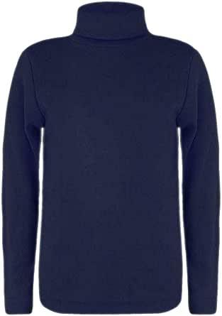 Camiseta de manga larga para niños con cuello alto y cuello redondo