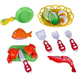 Liberty Imports Kitchen Fun Seafood Hot Pot Dinner Cutting Food Playset for Kids with Egg and Vegetable