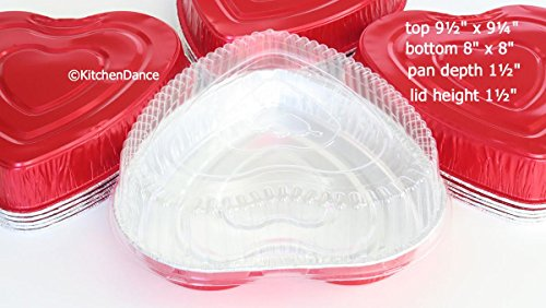 Disposable Aluminum Heart Shaped Baking/Cake Pan with Clear Plastic Lid #339P (50) by Handi-Foil