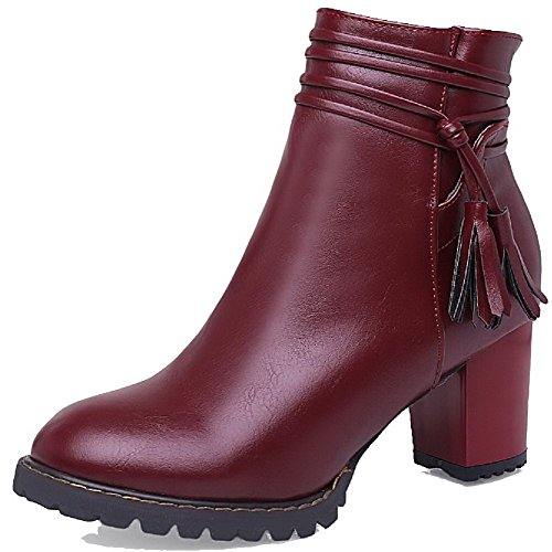 Material Top Boots Claret AgooLar Kitten Heels Round Women's Toe Solid Low Closed Soft nqzT0wO