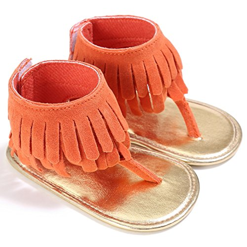 BOBORA Bebe Ninas Sandalias Borla Mate PU Bebes Zapatos De Verano naranja