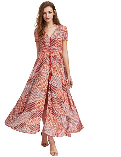 - Milumia Women Floral Print Button Up Split Flowy Party Maxi Dress (X-Large, Orange)