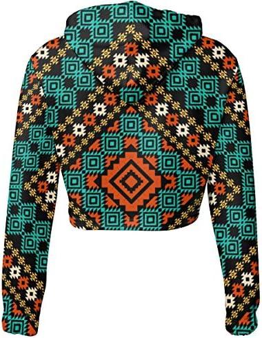 古代柄幾何学的民族抽象アステカスポーツジムオフィス学校の国境部族民俗アフリカのクロップドパーカー女性2019ファッション長袖パッチワーククロップトップトレーナー