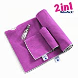 IUGA Non Slip Yoga Towel, Extra Thick Hot Yoga Towel + Hand Towel 2in1 Set, Corner Pockets Design to Prevent Bunching, 100% Microfiber – Non Slip, Super Absorbent and Quick Dry,
