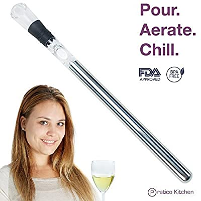 3-in-1 Wine Accessory - Stainless Steel Wine Chiller Stick, Wine Aerator, & Wine Pourer That Enhances Wine Flavor