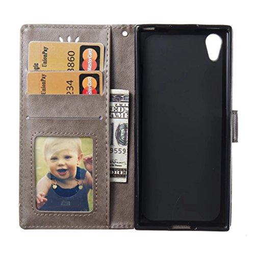 COWX Sony Xperia XA1 Hülle Kunstleder Tasche Flip im Bookstyle Klapphülle mit Weiche Silikon Handyhalter PU Lederhülle für Sony Xperia XA1 Tasche Brieftasche Schutzhülle für Sony Xperia XA1 schutzhüll