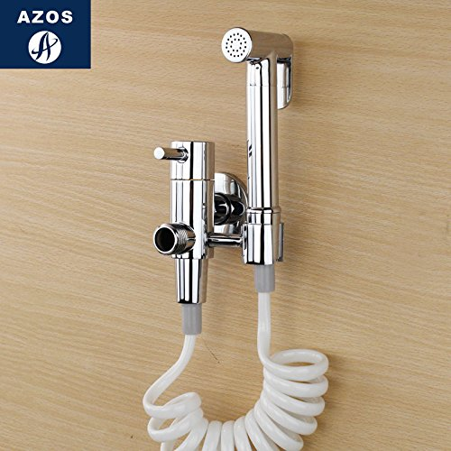 Azos Bidet Faucet Pressurized Sprinkler Head Brass Chrome Cold Water Two Function Toilet Pet Bath Washing Machine Round PJPQ005AA