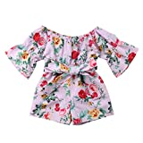 NUWFOR Infant Toddler Baby Girls Off Shoulder Floral Print Bow Romper Jumpsuit Outfits(Pink,2-3 Years)