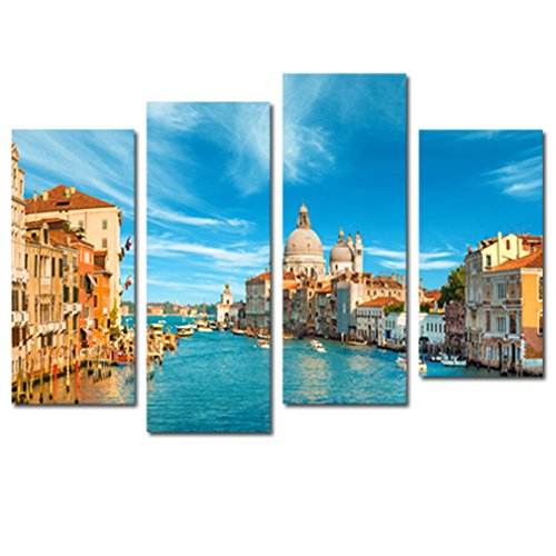 4 Panels Canvas Wall Art Venice Night View Painting Picture Prints City Landscape Painting Artwork For Living Room Home Decor Stretched and Framed Ready to Hang (30x60cmx2pcs (View Oil Painting)