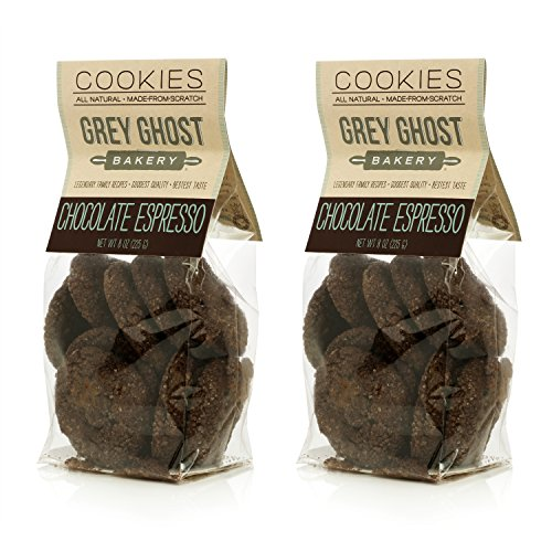Grey Ghost Bakery Sophisticated, rich, and mellow. Decadent - Chocolate Espresso Cookies 2x 8 oz bags (approx 24 cookies) South Carolina Chip
