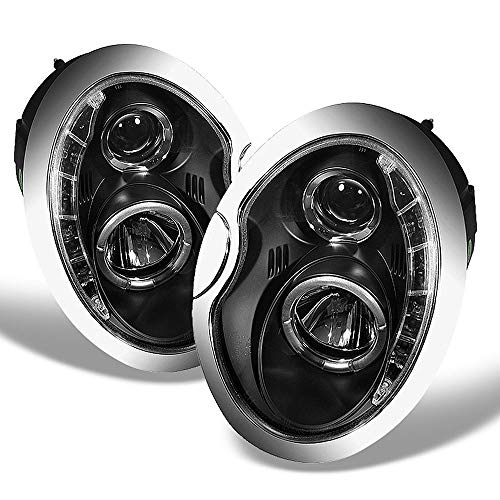 ACANII - For [Halogen Model] 2002-2006 Mini Cooper LED DRL Black Projector Headlights Headlamps, Driver & Passenger Side