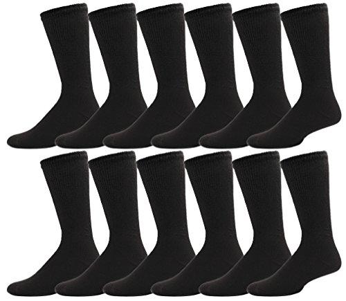 12 Pairs Diabetic Socks for Women, Non Binding Cotton Sock, Promotes Blood Circulation, Bulk Pack Ladies (Black) by Sock Deal